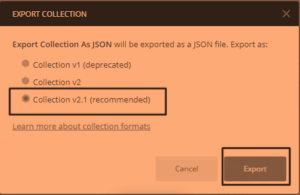 export postman collection v2.1